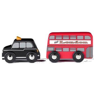 Träbilar - Londonbuss och taxi