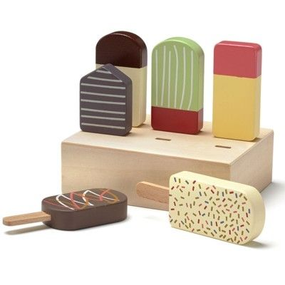 Leksaksmat - pinnglassar i trä i låda - Kids Concept