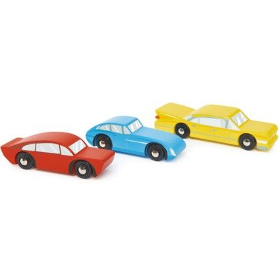 Träbilar - 3 bilar - retro - Tender Leaf Toys