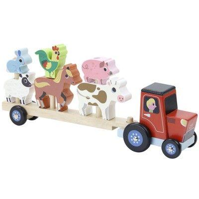 Traktor i trä  - Stapellek med djur - Ingela P Arrhenius för Vilac