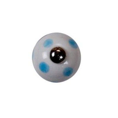 Knopp i porslin - vit med ljusblå prickar, liten