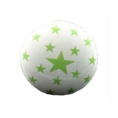 Knopp i porslin - vit med små gröna stjärnor