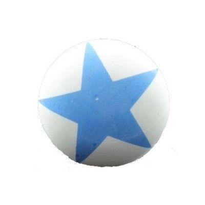 Knopp i porslin - vit med stor blå stjärna