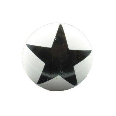 Knopp i porslin - vit med stor svart stjärna