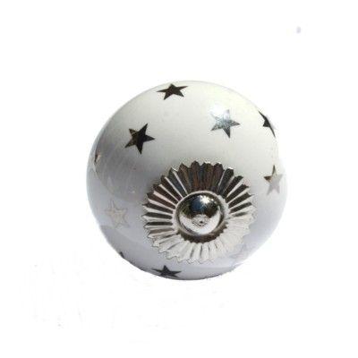 Knopp i porslin - star - vit med silverstjärnor