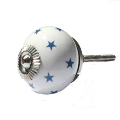 Knopp i porslin - star - vit med blå stjärnor