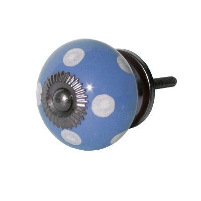 Knopp i porslin - blå med vita prickar