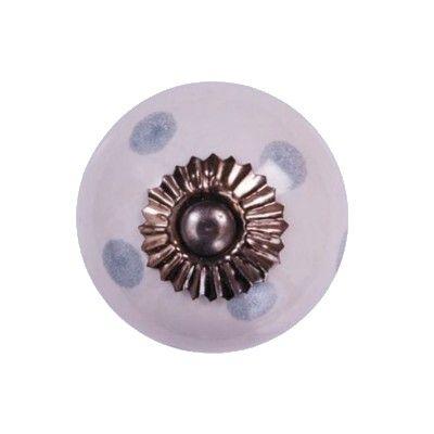 Knopp i porslin - vit med blågrå prickar