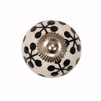 Knopp i porslin - vit med svarta flingor