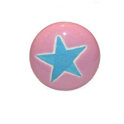 Knopp i porslin - rosa med blå stjärna