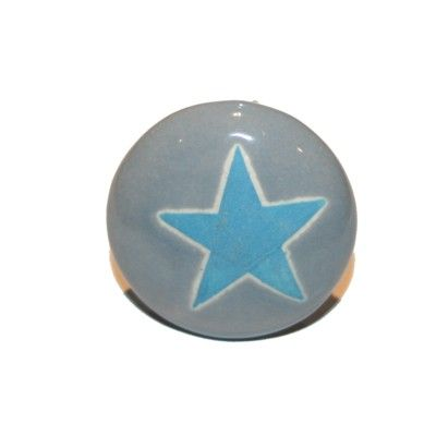 Knopp i porslin - grå med blå stjärna