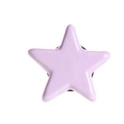 Knopp i porslin - stjärna - rosa