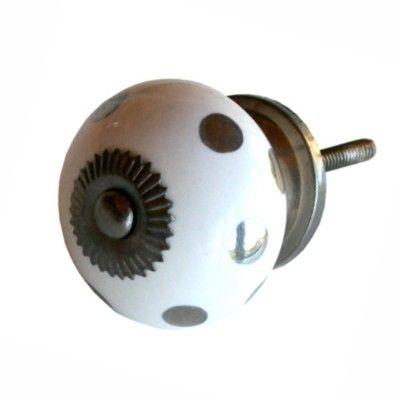 Knopp i porslin - vit med silverprickar