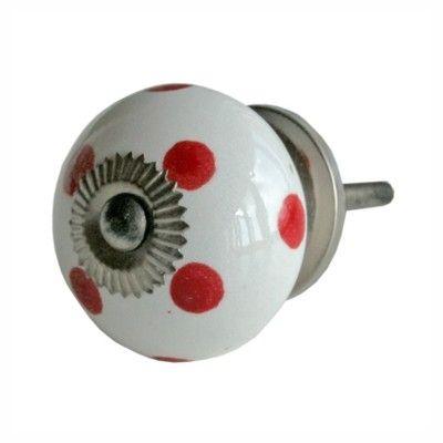 Knopp i porslin - vit med röda prickar