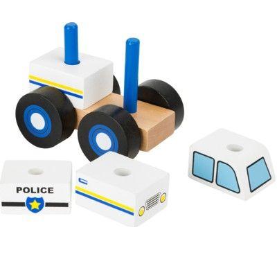 Träbil - Polisbil med klossar
