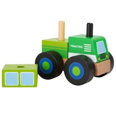 Träbil - Traktor med klossar
