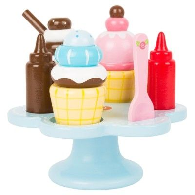 Leksaksmat - Fat i trä med glass