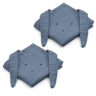 Amningsfiltar/handdukar - Hannah Rabbit blue wave - 2 st - ekologisk från Liewood