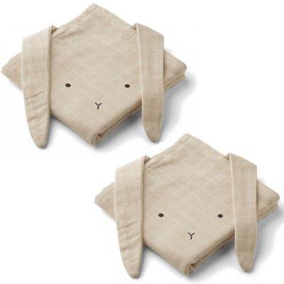 Amningsfiltar/handdukar - Hannah Rabbit Sandy - 2 st - ekologisk från Liewood