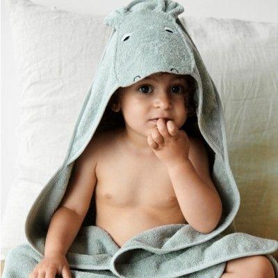 Handduk med luva, Junior - Augusta Hippo dove blue - Ekologisk från Liewood