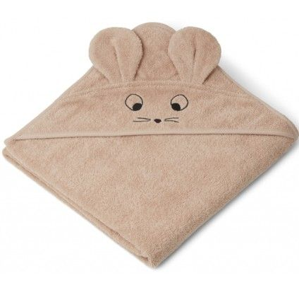 Juniorhandduk med luva - Mouse pale tuscany - Ekologisk från Liewood