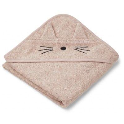 babyhandduk med luva - Albert Cat rose - Ekologisk från Liewood