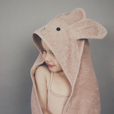babyhandduk med luva - Albert Rabbit rose - Ekologisk från Liewood
