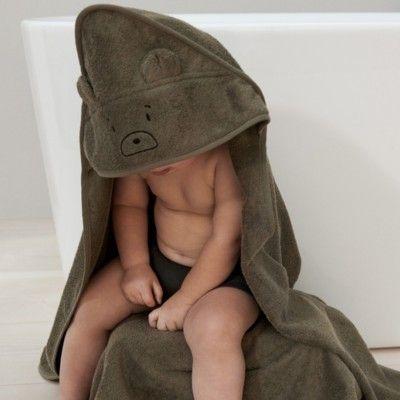 babyhandduk med luva - Mr bear khaki - Ekologisk från Liewood