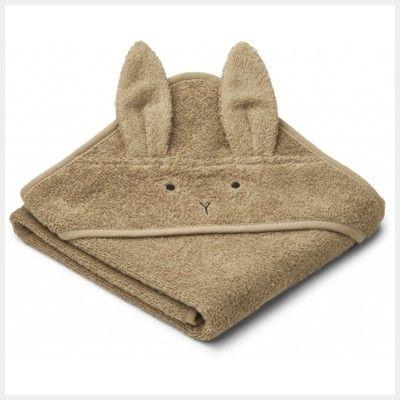 babyhandduk med luva - Albert Rabbit oat - Ekologisk från Liewood