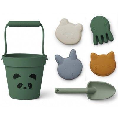 Sandleksaker - mjuk silikon - Panda garden green multi mix - Liewood