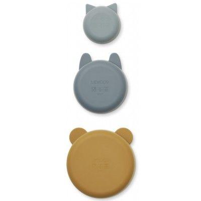 Skålar i silikon 3 pack - Golden caramel/blue multi mix - Liewood