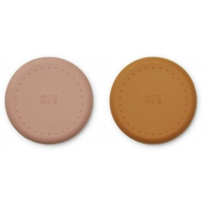 Tallrikar i silikon 2 pack, Gordon - Cat dark rose/mustard mix - Liewood