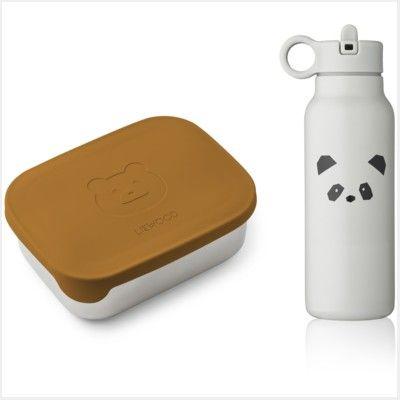 Drickflaska och matlåda - Joni lunch set - Mr bear mustard/panda light grey mix - Liewood