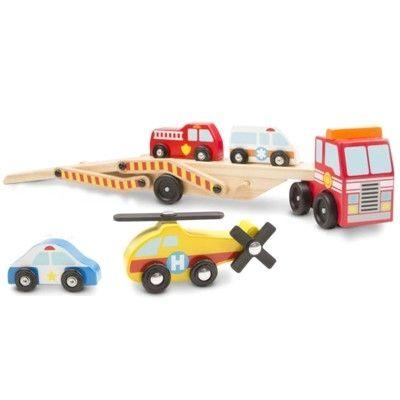 Lastbil i trä med 4 bilar - Emergency - Melissa & Doug