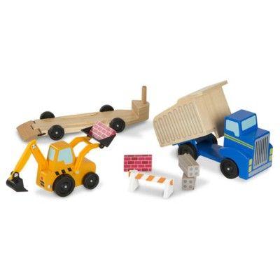 Dumpertruck i trä med grävmaskin - blå - Melissa & Doug