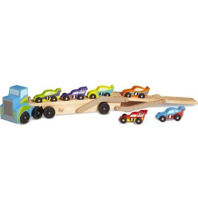 Lastbil i trä med 6 racerbilar - blå - Melissa & Doug
