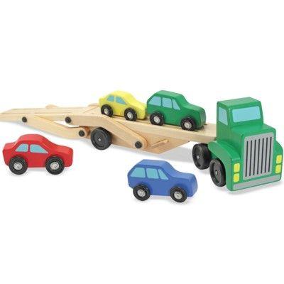 Lastbil i trä med 4 bilar - grön - Melissa & Doug