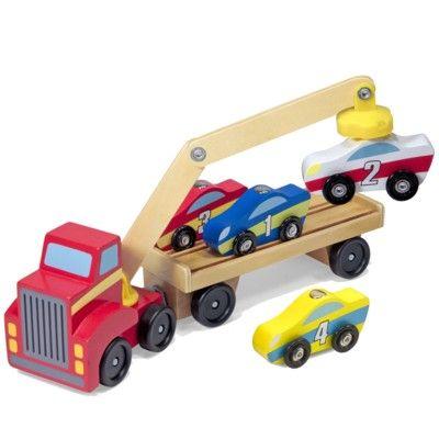 Kranbil i trä med 4 bilar - röd - Melissa & Doug