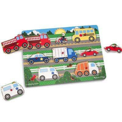 Knopp-pussel - fordon i trafiken - 8 bitar - Melissa & Doug