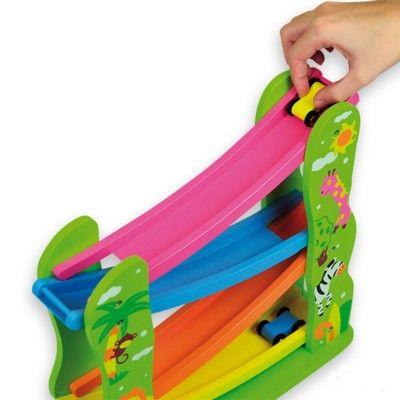 Bilbana i trä - vilda djur - New Classic Toys