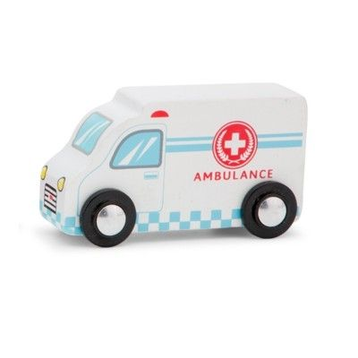 Träbil - Ambulans, vit - New Classic Toys