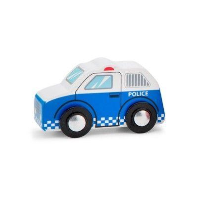 Träbil - Polis, blå - New Classic Toys