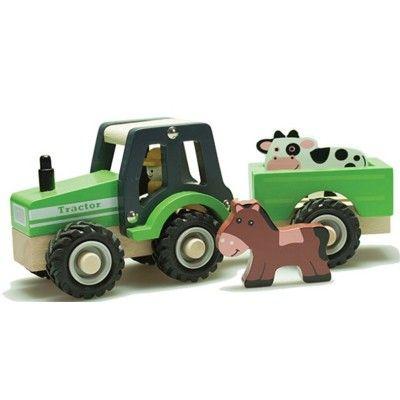 Traktor i trä med 2 djur - bondgård