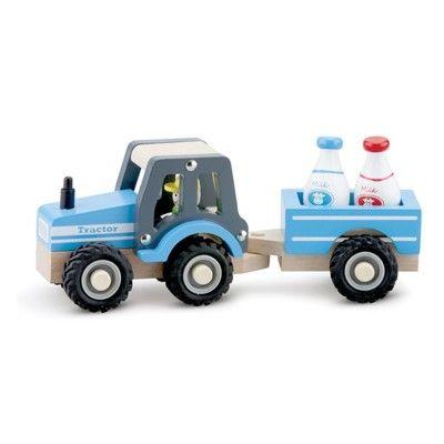 Traktor i trä med mjölkflaskor