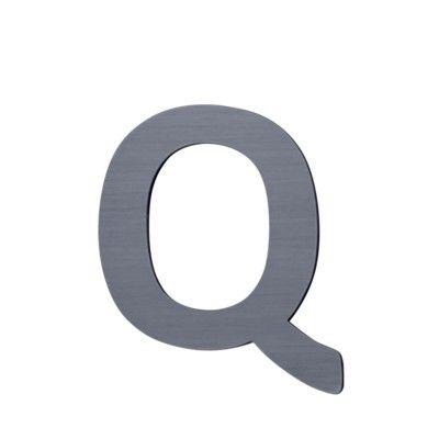 Bokstav i trä - Q - grå - Sebra