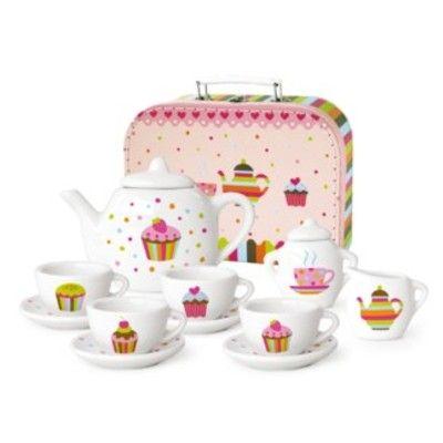 Servis i porslin i väska - cupcake