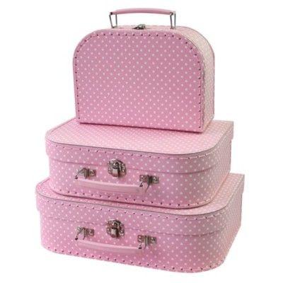 Väska, rosa med vita prickar - set med 3