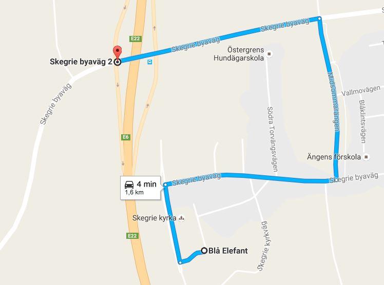 Kort till Skegrie Kyrkväg 21, Skegrie